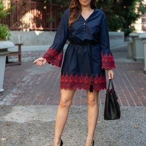 JCrew Navy Dress Red Embroidery Eyelet Bell Sleeve